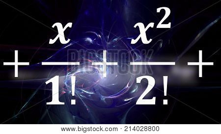 Math equations and formulas. in distance on abstract cosmic background. Science and mathematical research and development concept.