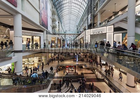 Toronto Canada - Oct 12 2017: Interior of the Eaton Centre mall in the city of Toronto Canada