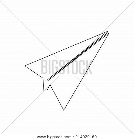 Paper plane icon in line art style. Plane icon isolated on background. Continuous line drawing. Single unbroken line drawing style. Vector