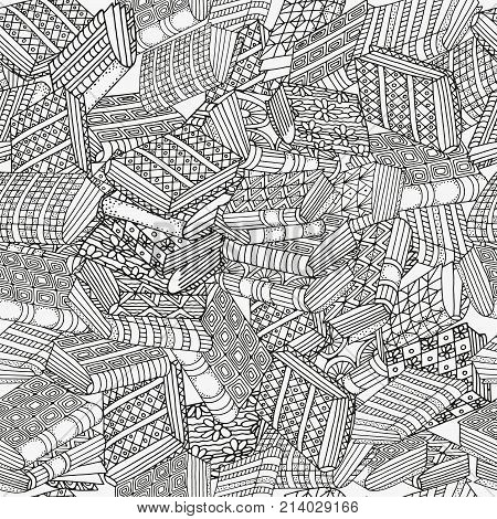 Seamless pattern with artistic books mountain of books bookshelf hand-drawn decorative elements in vector. Black and white. Pattern for coloring book. Zentangle. Zen art
