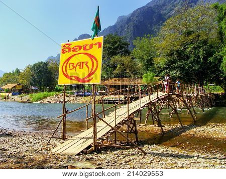 Vang Vieng, Laos - November 26: Riverside Bar Sign At The Nam Song River On November 26, 2011 Near V