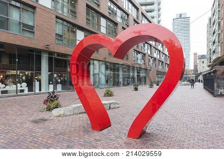 Toronto Canada - Oct 13 2017: Red hearth at the historic distillery district in Toronto. Province of Ontario Canada
