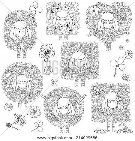 Set of artistically ornamental sheeps. Swirls ringlets. Hand-drawn doodle vector zentangle tribal design elements. Coloring book for adult and children.