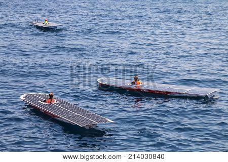 Monte Carlo, Monaco - July 11: Solar Boat In Port Hercules During Monaco Solar Boat Challenge On Jul