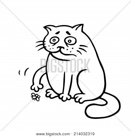 Cat sits and grimly pushes the dead fly. There is no one to play with. Vector Illustration. Cute emoticon character.