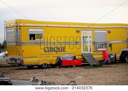 Valras-plage, Herault, France - Aug 22 2017: Trailer Belonging To A French Circus Or