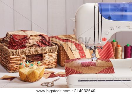 Quilt blocks sewing with an electric sewing machine pile ready blocks