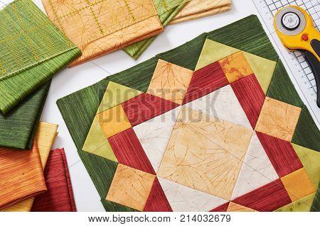 Patchwork orange-green block quilting fabrics sewing accessories
