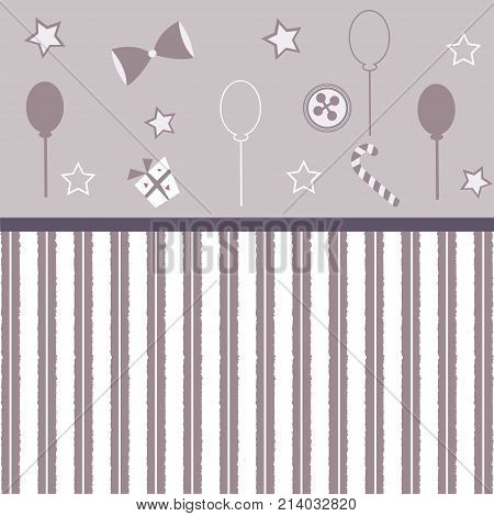 Cute Girlish Frame with balloons bows gift button stars and stripes. Great for wall art scrapbook notebook Great for wall art design blankets booklets etc.