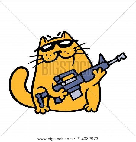 Cat gangster with assault rifle is ready to kick ass to any enemy. Vector Illustration. Cute cartoon pet character.