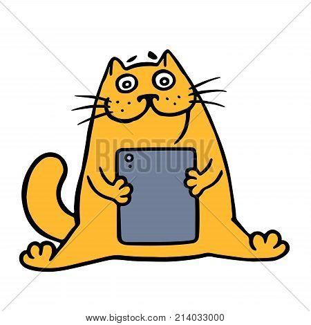 Cute orange fat cat and digital tablet. Vector Illustration. Cartoon pet character.