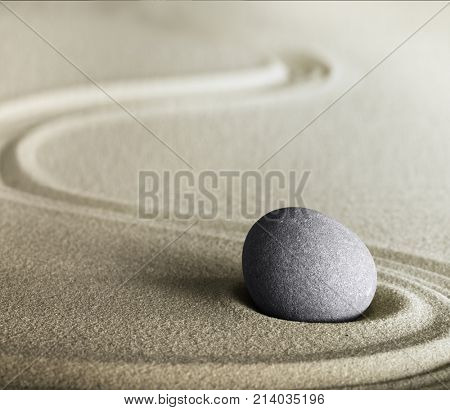 zen stone and sand meditation garden. Spa wellness background for relaxation, harmony, balance and spirituality.