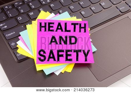 Health And Safety Writing Text Made In The Office Close-up On Laptop Computer Keyboard. Business Con