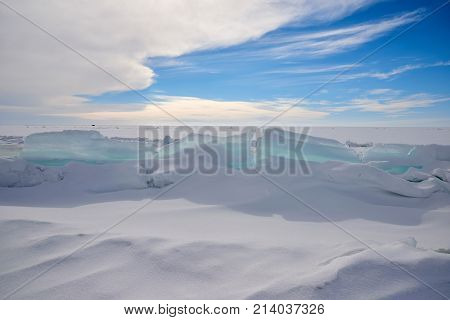 The ice hummock on Lake Balkhash. An ice hummock is a boss or rounded knoll of ice rising above the general level of an ice-field.