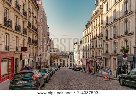 Paris, France, March 26 2017: Typical view of the Parisian street. Architecture and landmark of Paris