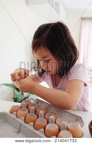 Mixed Asian Children Watering Seedling Plant In Eggshells,, Eco Gardening,  Montessori, Education, R