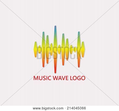 Colorful soundwave logo. Pulse music player icon. Vector colorful equalizer element.