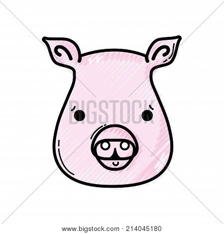 grated cute pig head wild animal vector illustration