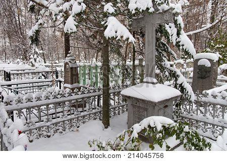 NIZHNY NOVGOROD, RUSSIA - NOVEMBER 07, 2016: The grave of the Decembrist Ivan Annenkov (1802-1872) and his son Nikolai famous representatives of the noble family Annenkovs. Red (Bugrovsky) cemetery.
