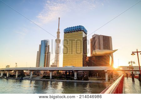 Tokyo Skyline On The Sumida River