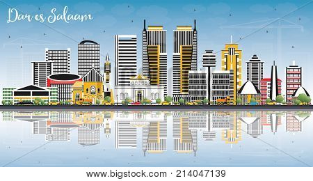 Dar Es Salaam Tanzania Skyline with Color Buildings, Blue Sky and Reflections. Business Travel and Tourism Concept with Modern Architecture.