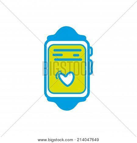 smartwatch technology object with heartbeat rhythm vector illustration