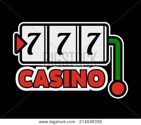 Casino poker logo template. Lucky numebr 7 or seven jackpot win combination on gambling roulette. Vector isolated poker gamle icon