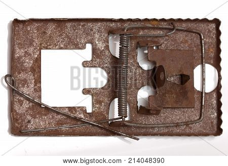 metal mousetrap. isolated on white background . Photos in the studio