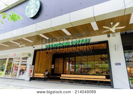 Penang Malaysia - Nov 11 2017 : Starbucks coffee shop. Starbucks Corporation is an American coffee company and coffeehouse chain. Starbucks was founded in Seattle Washington in 1971.