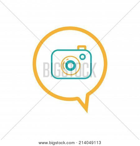 line digital camera technology inside chat bubble vector illustration