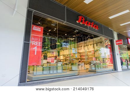 Penang Malaysia - Nov 11 2017 : Bata Shoes shop. Bata is a family-owned global footwear and fashion accessory manufacturer and retailer with acting headquarters located in Lausanne Switzerland.