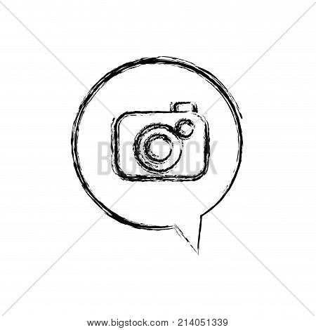 figure digital camera technology inside chat bubble vector illustration