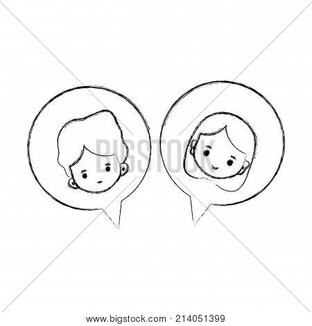 figure boy and girl head inside chat bubble vector illustration