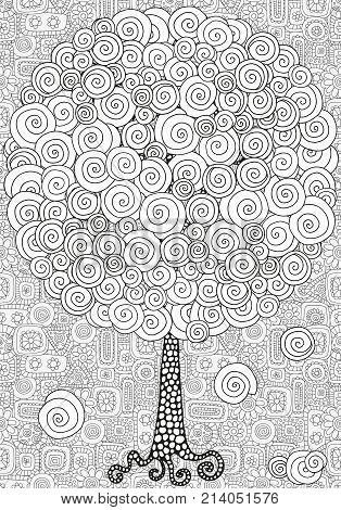 Artistic Tree With Hand-drawn Swirls, Ringlets.