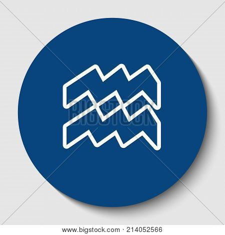 Aquarius sign illustration. Vector. White contour icon in dark cerulean circle at white background. Isolated.