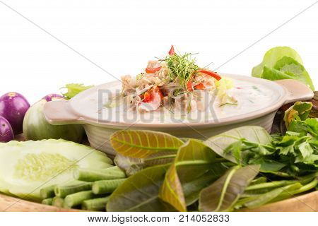 Simmer Soft Crab Boiled In Coconut Milk With Fresh Vegetables, Thai Flavors Food, Isolated On White