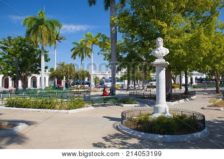 Cienfuegos Cuba - January 28 2017: Jose Marti Park in Cienfuegos (UNESCO World Heritage) Cuba. Cienfuegos capital of Cienfuegos Province is a city on the southern coast of Cuba.The city is dubbed La Perla del Sur