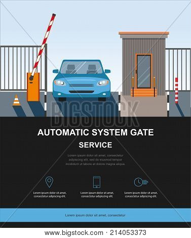 Automatic Rising Up Barrier, automatic system gate for security.Flat and Colorfull illustration. Vector graphic