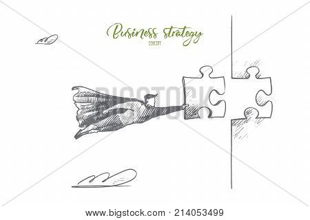 Business strategy concept. Hand drawn superhero with puzzle in hand. Flying man holds part of mosaic isolated vector illustration.