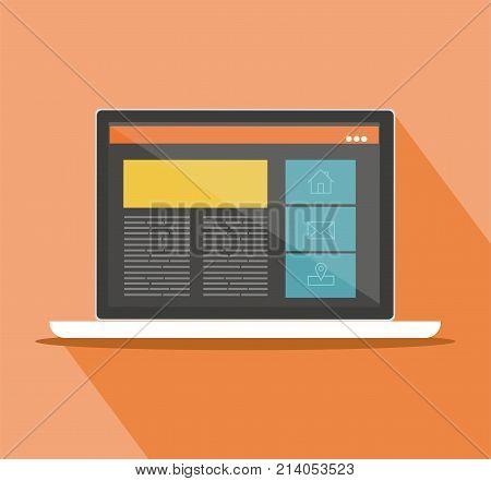 Responsive web design on a laptop. Flat vector design style concept.