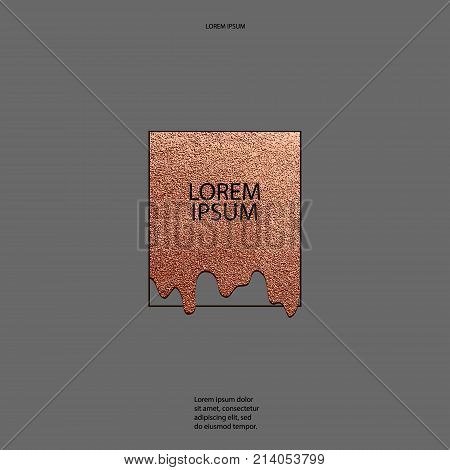 Modern And Stylish Minimal Design. Copper Glossy Background. Metallic Texture. Bronze Metal.
