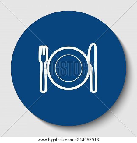 Fork, Knife and Plate sign. Vector. White contour icon in dark cerulean circle at white background. Isolated.