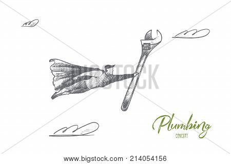 Plumbing concept. Hand drawn superhero with wrench for plumber. Flying man holds plumbing instrument isolated vector illustration.