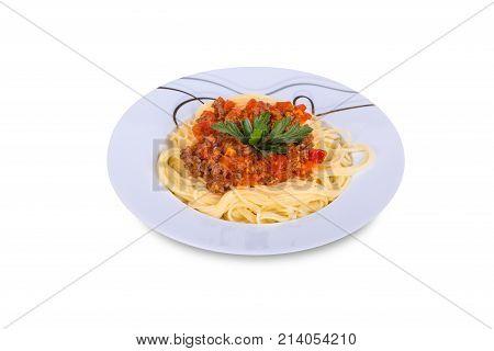 Spaghetti Pasta With Tomato Bolognese Sauce