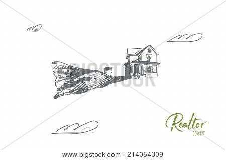 Realtor concept. Hand drawn superhero with symbolic house in hands. Flying man holds toy house as symbol of real apartments isolated vector illustration.