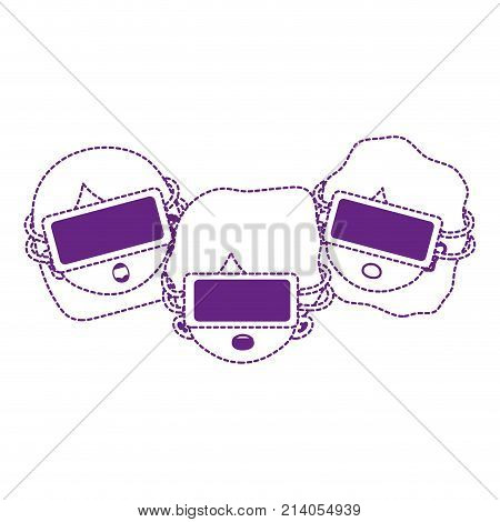 dotted shape children with 3d glasses technology object vector illustration