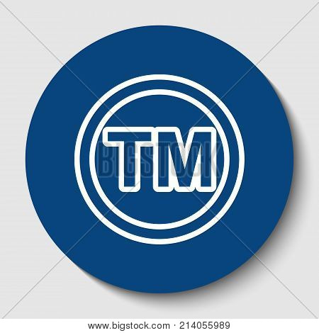 Trade mark sign. Vector. White contour icon in dark cerulean circle at white background. Isolated.