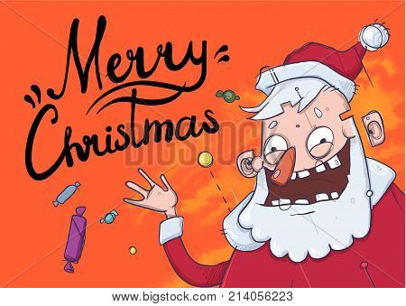 Christmas card with funny Santa Claus smiling and waving hand. Santa Claus waves hello and throws some candies. Lettering on orange background. Cartoon character vector illustration.