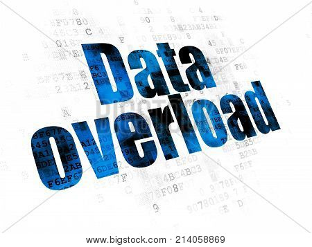 Data concept: Pixelated blue text Data Overload on Digital background poster