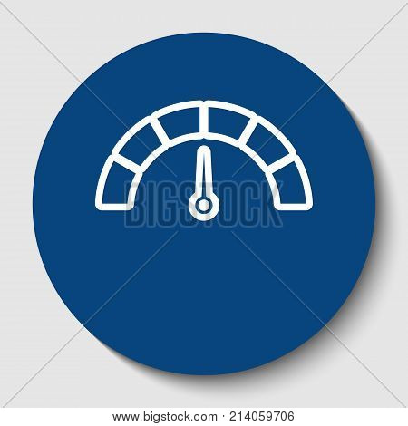 Speedometer sign illustration. Vector. White contour icon in dark cerulean circle at white background. Isolated.